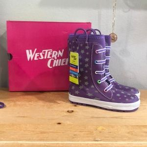 Western chief kids rain boots purple new in box